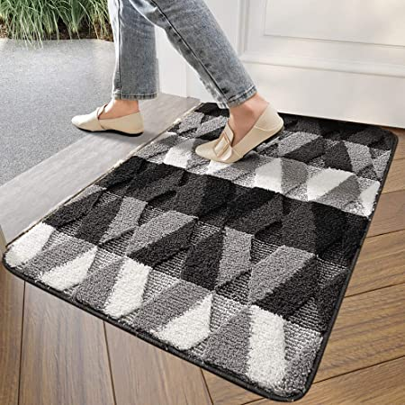 Amazon Com Dexi Indoor Doormat Front Door Rug 20 X32 Absorbent Machine Washable Inside Door Mat Non Slip Low Profile Entrance Rug For Entry Back Door Black Garden Outdoor