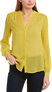 Joie Women's Yellow Polka Dot Mintee Blouse Silk Top