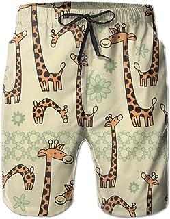 Cute Cartoon Giraffe Surfing Pocket Elastic Waist Men's Beach Pants Shorts Beach Shorts Swim Trunks