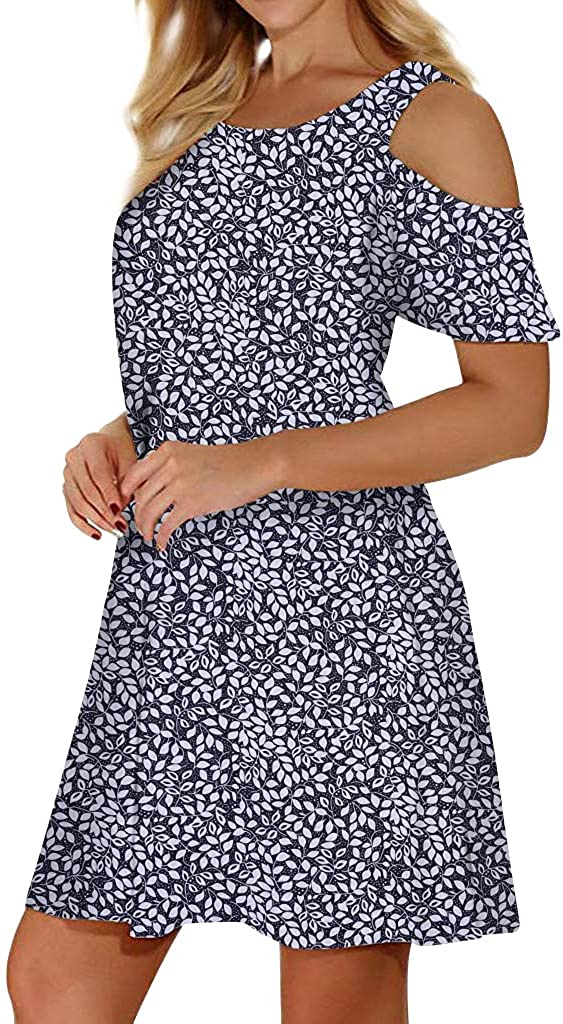 Misyula Style Women Summer Cold Shoulder Floral Flowy T-Shirt Dress with Pockets