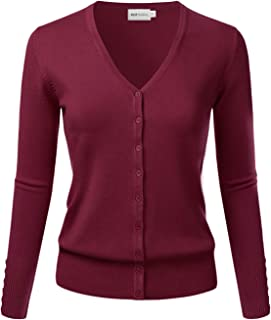 ELF FASHION Women Top Long Sleeve Button V-Neck Knit Sweater Cardigan (Size S~3XL)