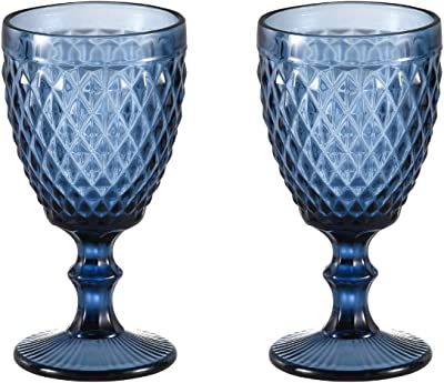 Wine glass, Colored Glass Goblet, 6oz/10oz Vintage Pattern Embossed High Clear Glass Goblets for Party, Wedding (Diamond/Blue/Set of 2, 10oz)