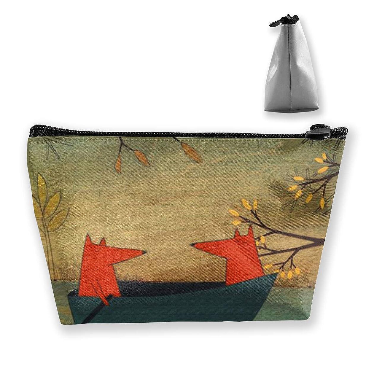 見積りありふれた元の秋の狐 化粧ポーチ メイクポーチ ミニ 財布 機能的 大容量 ポータブル 収納 小物入れ 普段使い 出張 旅行 ビーチサイド旅行