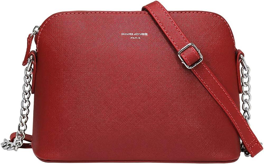 David jones, elegante pochette a tracolla per donna, in ecopelle, rossa CM3900A RED