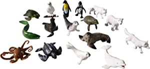 Sea and Polar Animals Figurines Playset 16 Pcs, Detailed Bear, Whale Figures, Walrus, Penguin Toy Set, Cake Toppers Birthday Gift for Kids