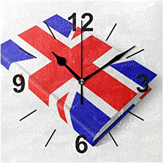 NOAON Wall Clock Square 8x8 Inches Silent UK Flag Book Decorative for Home Office School Bedroom