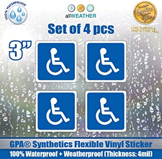 4 Pack of Disabled Logo/Wheelchair Symbol ADA Compliant Handicap Access Accessible 3 x 3 inch Blue Stickers Waterproof Car Parking Vinyl Decals