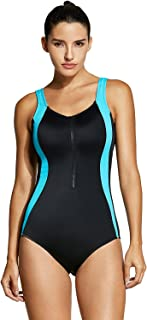 SYROKAN Women's Plus Size Zip Front Athletic One Piece Sport Swimsuit