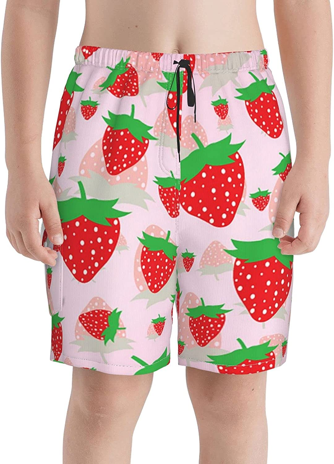 Red Strawberry sold out Boys Swim Trunks Beach National products Sh Teens Boardshorts