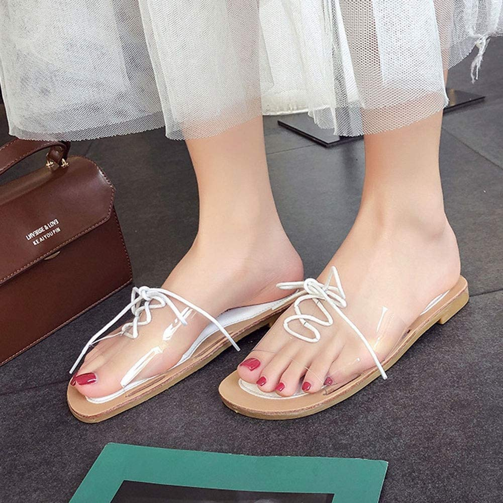 MYW Open Toe Sandals Women Summer Fashion Transparent Wild Slippers Casual Non-slip Slippers White