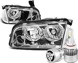 For Dodge Charger LX 4Pc Chrome Housing Clear Lens Headlight + Corner Signal Light + 9006 LED Conversion Kit W/Fan