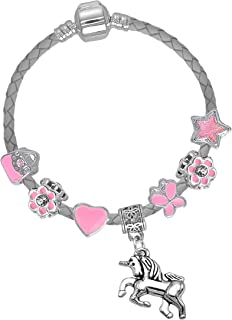 Bracelet avec breloques 10/ème anniversaire avec carte danniversaire licorne et bo/îte cadeau Pour filles