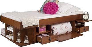 Cama funcional Bali - Estructura con espacio de almacenaje y cajones, ideal para dormitorios pequeños - Cama moderna de madera maciza de pino - Precio incl. somier de madera (90x190, Color Caramelo)