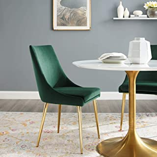 Modway Viscount Performance Velvet Dining Side Chair with Gold Stainless Steel Legs in Green