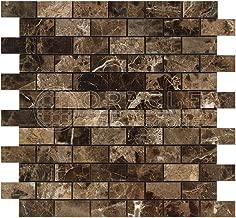 Emperador Dark Spanish Marble 1 X 2 Brick Mosaic Tile, Polished