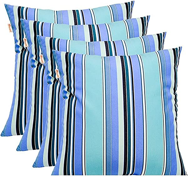 Resort Spa Home Decor Set Of 4 Sunbrella Dolce Oasis Blue Teal Navy White Stripe In Outdoor Square Throw Toss Pillows 17 X 17 1101