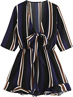 e62660868bb Romwe Women s Sexy Tie Front Ruffle Hem Colorblock Striped Print Romper  Jumpsuit