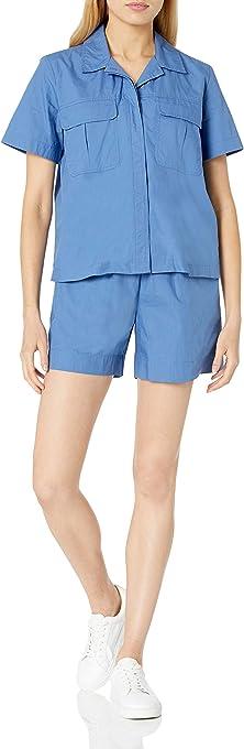 The Drop Women's Kayla Boxy Short Sleeve Cargo Pocket Poplin Shirt