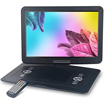 """WONNIE 17.9'' Portable DVD/CD Player with 15.4"""" Large Swivel Screen, 1366x768 HD LCD TFT, Built-in 5000mAH Rechargeable Battery, Resume Play, USB/SD Card/ AV in &Out , Regions Free, Stereo Sound"""