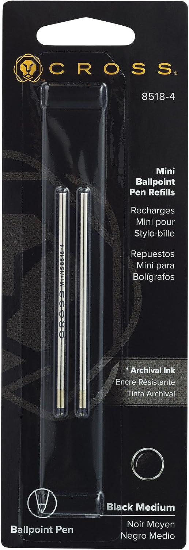 Autocross Medium Black 2 Per Card 8518-4 Cross Mini Ballpoint Pen Refill Fits Tech 3 Leather Accessory Pens Compact
