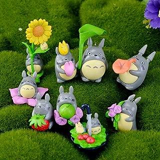 Horizon Miniature - 9pcs Set Cute Mini Cartoon Totoro Diy Resin Fairy Garden Craft Decoration Miniature Micro Gnome - Gift Silver Grass Fairy Mini Landscape Metal Terrarium Figurine Horizon Fair