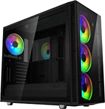 Fractal Design Define S2 Vision RGB- Mid Tower Computer Case - High Airflow and Silent - PSU Shroud - Modular Interior - Water-Cooling Ready - USB Type C - Dark Tint Tempered Glass Side Panel - ARGB