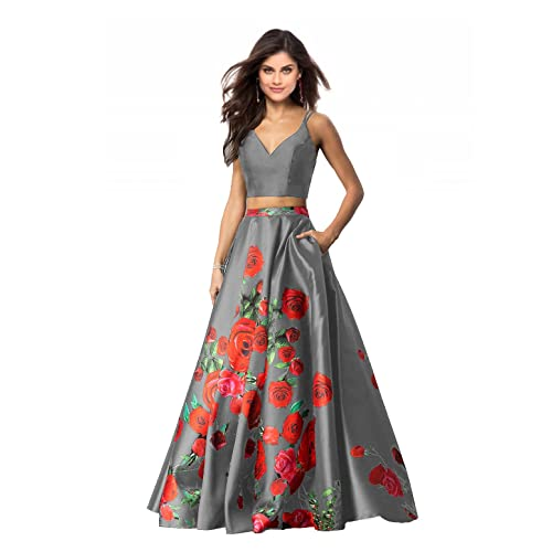 3d99438002a Lily Wedding Womens 2 Piece Floral Printed Prom Dresses 2019 Long Formal  Evening Ball Gowns with