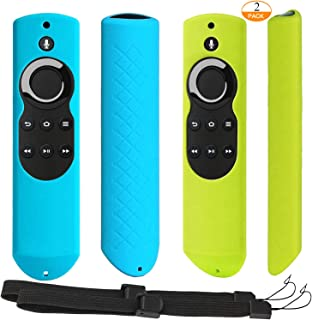 [2 Pack] Anti-Slip Shockproof Silicone Remote Case Cover with Lanyard for Fire TV with 4K Alexa Voice Remote (2017 Edition) (2nd Gen) / Fire TV Stick Alexa Voice Remote (Green + Turquoise)