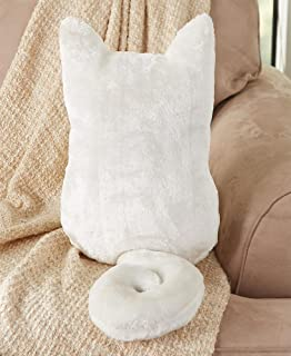 The Lakeside Collection Cozy Cat Silhouette Pillow - White