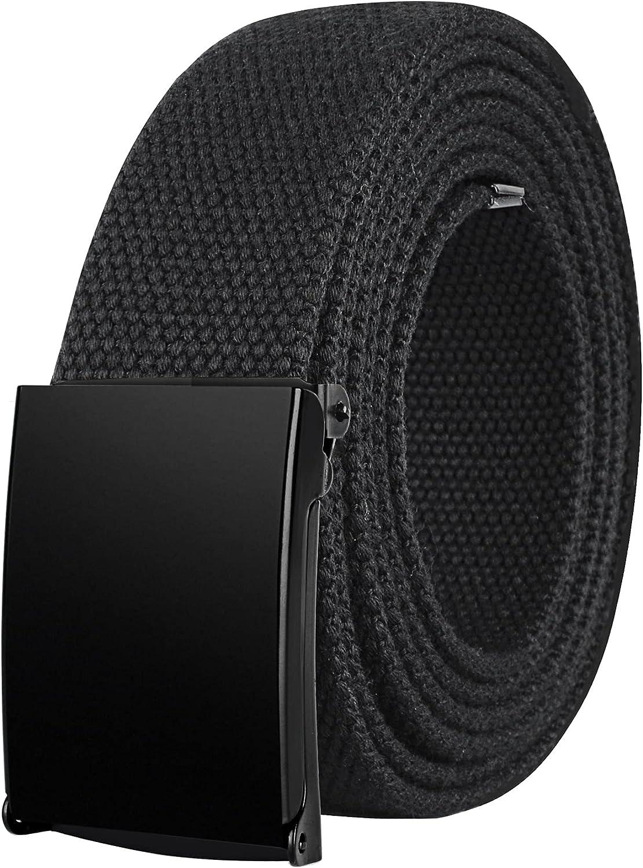 Drizzte Plus Size Belt 39''-75'' Long Canvas Colth Fabric Web Belts Black Unisex