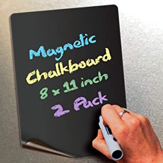 Magnetic Chalkboard Notes - 8 x 11 inch, 2 Pack - Decorative Magnet Blackboard for Fridge, Kitchen Organizer, Decor, Offic...