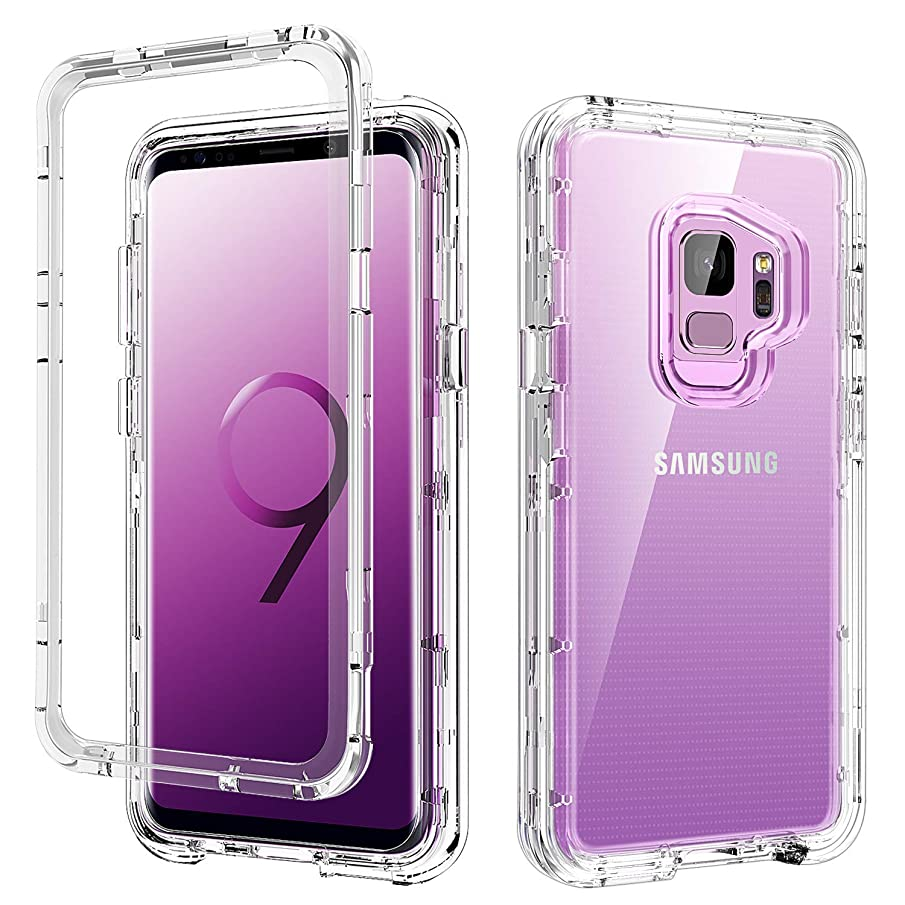 S9 Case Clear,Galaxy S9 Case,DUEDUE 3 in 1 Shockproof Drop Protection Heavy Duty Hybrid Hard PC Cover Transparent TPU Bumper Full Body Protective Clear Case for Samsung Galaxy S9, Clear