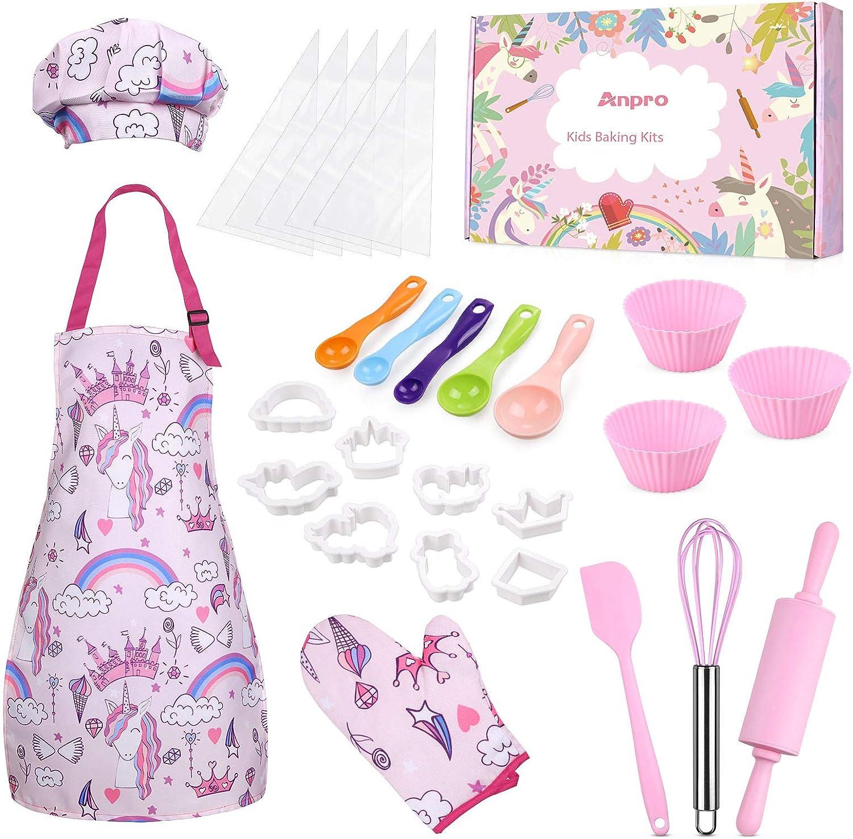 Anpro 27 PCS Kit de Cocina y Horneado para Niños , Juego de Roles para Niños,Chef Set Accesorios de Juego,Regalos para Cumpleaños y Navidad (Rosa, 8-12 años)