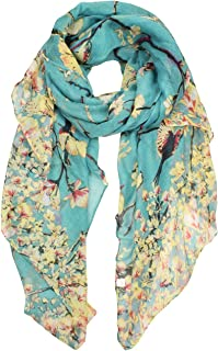 heekpek Women Ladies Long Scarf Wrap Shawl Fashion Butterfly Bird Print Lightweight for Autum Spring