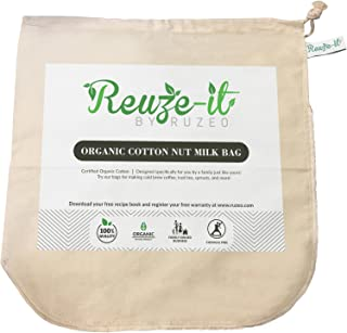 Premium Organic Cotton Nut Milk Bag - Perfect Almond Milk Maker - Reusable Eco-Friendly Food Strainer for Yogurt, Cheese Cloth, Juice, Tea, Cold Brew Coffee & More - 100%