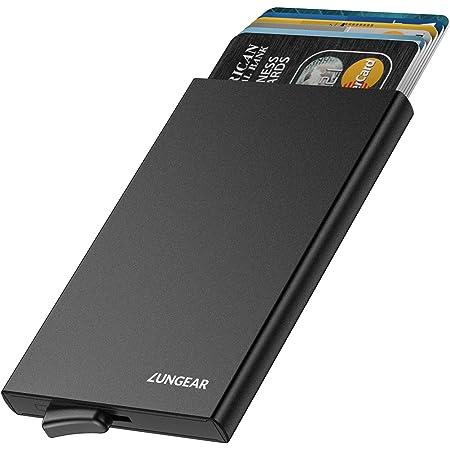 LUNGEAR Credit Card Holder RFID Blocking, Slim Metal Card Case Anti Scan Minimalist Pop-up Card Wallet for 5 Cards, Black
