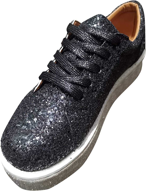 ZBRO 2021 Fashion Glitter Sneakers Women's Muffin Rhinestone New Crystal Platform Sneakers, Women's Fashion Slip-On Sneaker Casual Flat Loafers Sparkly Bling Wedge Platform Sneaker