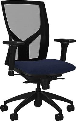 "Lorell USA Seating Justice Chair, 47"" x 26.3"" x 25"", Black, Dark Blue"
