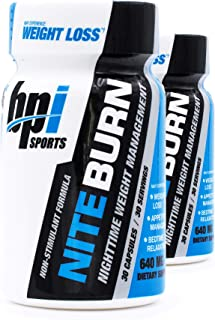 BPI Sports Nite Burn Nighttime Weight Management Formula LimitedQuantity 640 MG 30-Count (Pack of 2)