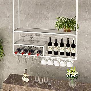 Ybzx Organisateur de Rangement pour Verres à vin Installation au Plafond Bar Butler Distributeur de vin avec Petit Compart...