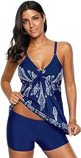 56033c2a5b5ea Zando Women s Plus Size Swimsuit Striped Color Block Tankini Top with  Boyshorts Swimwear Two Piece Bathing