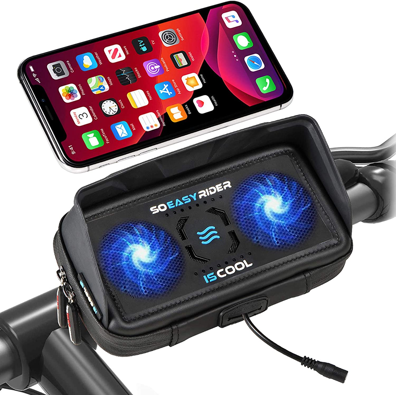 So Easy Rider 9 en 1 Soporte Móvil para Moto Bici Scooter con Cargador USB y Ventilador,Soporte Teléfono Motocicleta Bolsa Manillar Funda Impermeable para 4.3