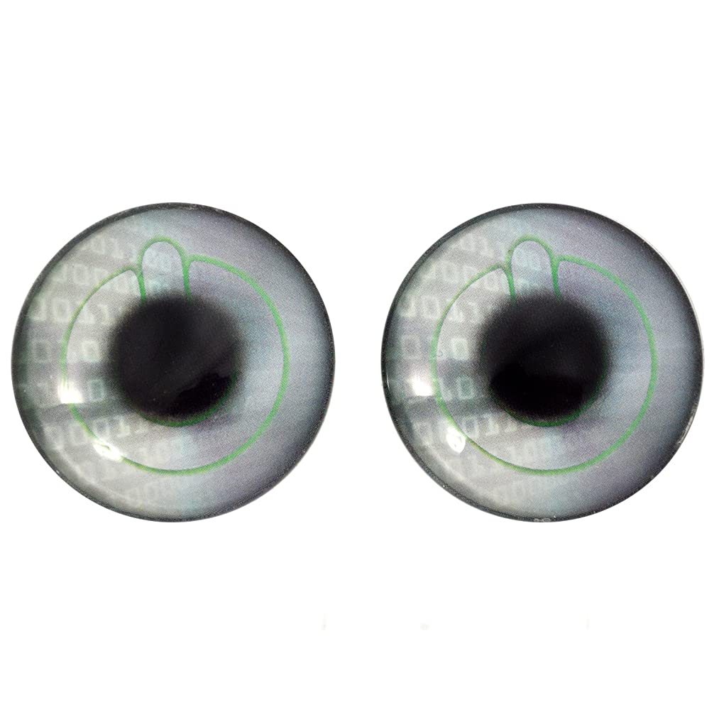 40mm Tech Glass Eyes with Computer Power Button Design Crafting Supply Flatback Cabochons for Art Doll Taxidermy or Jewelry Making