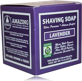 Organic Shaving Soap; Lavender; Unisex; Made W/Softening Butters & Oils; Org. Lavandin Essen. Oil; 5 in 1 (Shave Shampoo Cond. Body & Beard Soap)* Cert. Organic by Oregon Tilth; Two 3.75 Ounce Bars
