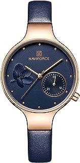 Jechin Luxury Women's Flower Leather Waterproof Bracelet Watch with Date Function