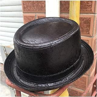 QinMei Zhou Fashion Men Pork Pie Hat Feather Fedora Hat Dad Boater Flat Top Hat For Gentleman Bowler Gambler Top Hat