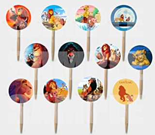Party Over Here Lion King Cupcake Picks Double-Sided Images Cake Topper -12, 1994 Animated Movie Simba Nala Mufasa Timon P...