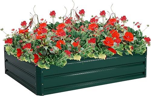 "high quality Giantex Patio Raised discount Garden Bed Vegetable Flower Planter Metal Plant Box Dark Green (47"" Lx 35.5"" discount Wx 12.0"" H) sale"
