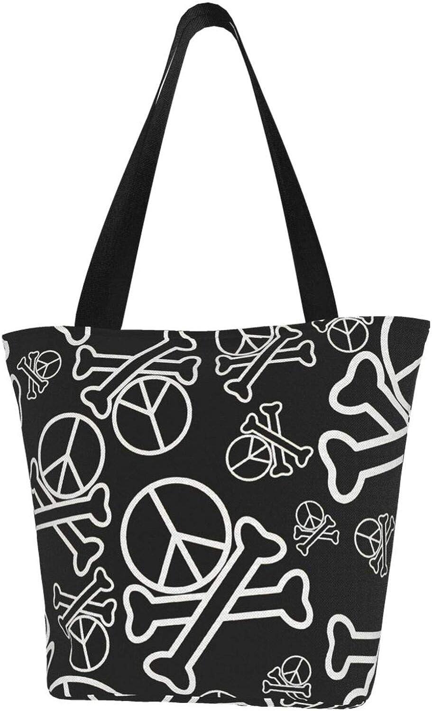 Peace Sign Black And White Bone Themed Printed Women Canvas Handbag Zipper Shoulder Bag Work Booksbag Tote Purse Leisure Hobo Bag For Shopping