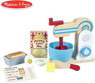 Melissa & Doug Wooden Make-a-Cake Mixer Set (Kitchen Toy, Numbered Turning Dials, Encourages Creative Thinking, 11-Piece Set, 13.5″ H × 10″ W × 5″ L) (Renewed)